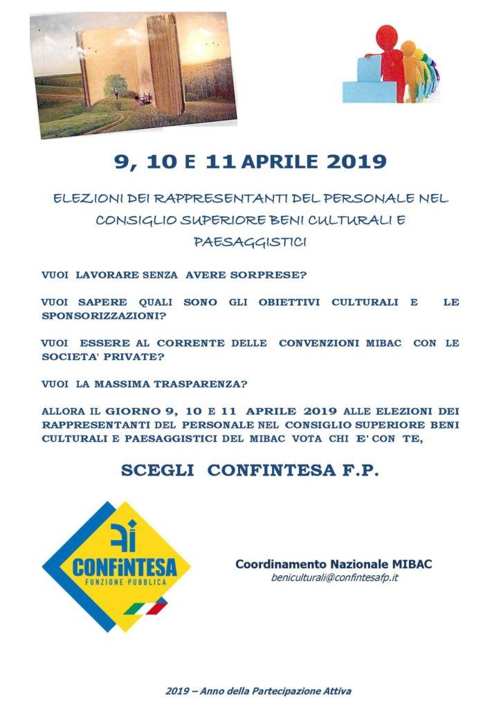 9, 10 E 11 APRILE 2019 ELEZIONI DEI RAPPRESENTANTI DEL PERSONALE NEL  CONSIGLIO SUPERIORE BENI CULTURALI E PAESAGGISTICI